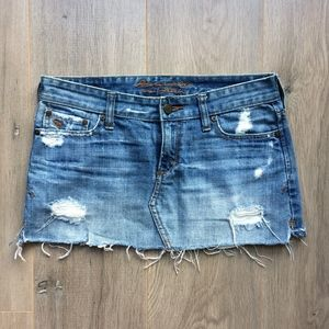 Abercrombie & Fitch Cropped Denim Distressed skirt